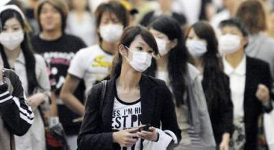 Japanese people wearing masks